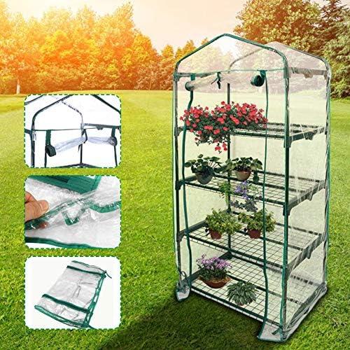 屋外温室ポータブル温室植物棚フレームPVC透明カバー冷たい霜プロテクター園芸植物