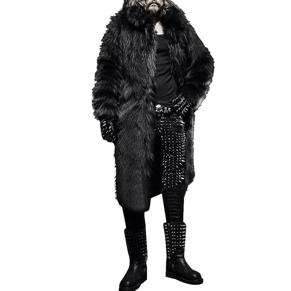 Moserian Mens Winter Warm Thicker Long Coat Jacket Faux Fur Parka Outwear Cardigan