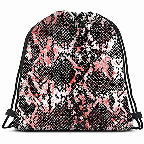 - Snake Skin Drawstring Backpack Gym Sack Lightweight Bag Water Resistant Gym Backpack For Women&Men For Sports,Travelling,Hiking,Camping,Shopping Yoga
