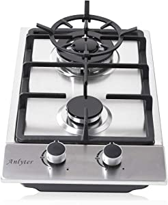 Anlyter 12 Inch Gas Cooktop, 2 Burners Drop-In Gas Stovetop (Thermocouple Protection), Stainless Steel Gas Hob LPG/NG Dual Fuel Sealed Gas Cooker with Wok Stand and Pressure Regulator