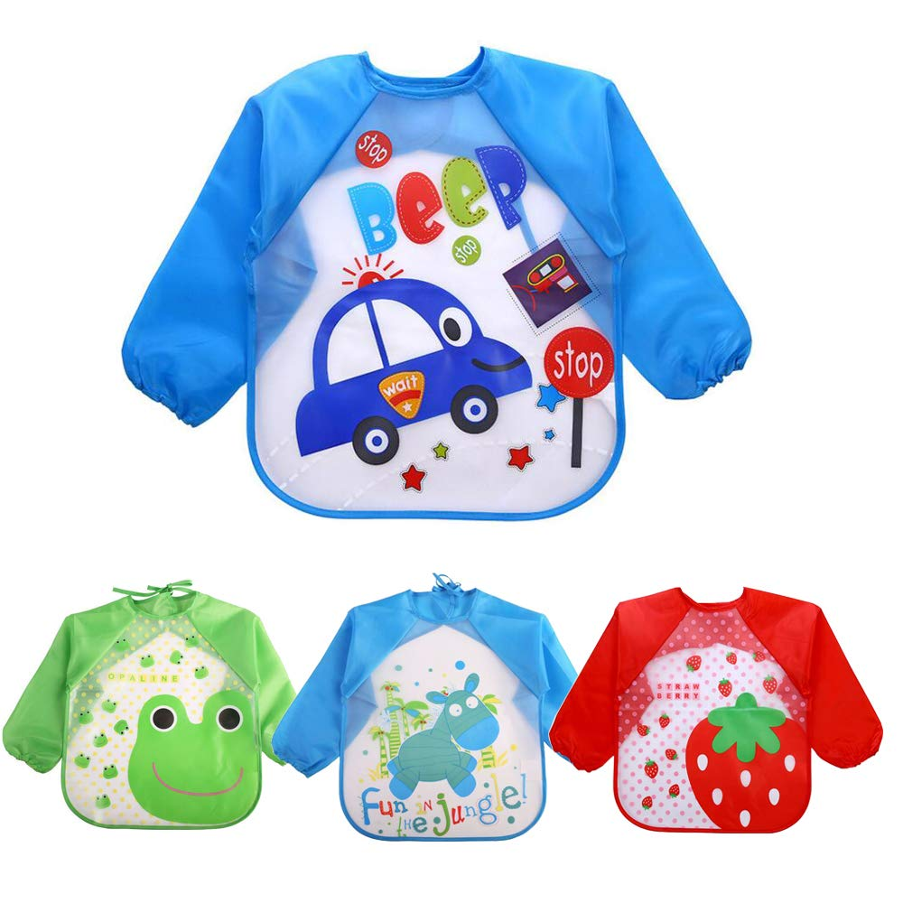 Echodo 4 Packs Waterproof Children's Art Smock Kids Painting Aprons Long Sleeve Baby Smock for Eating 1-4 Years Echo' s Grocery