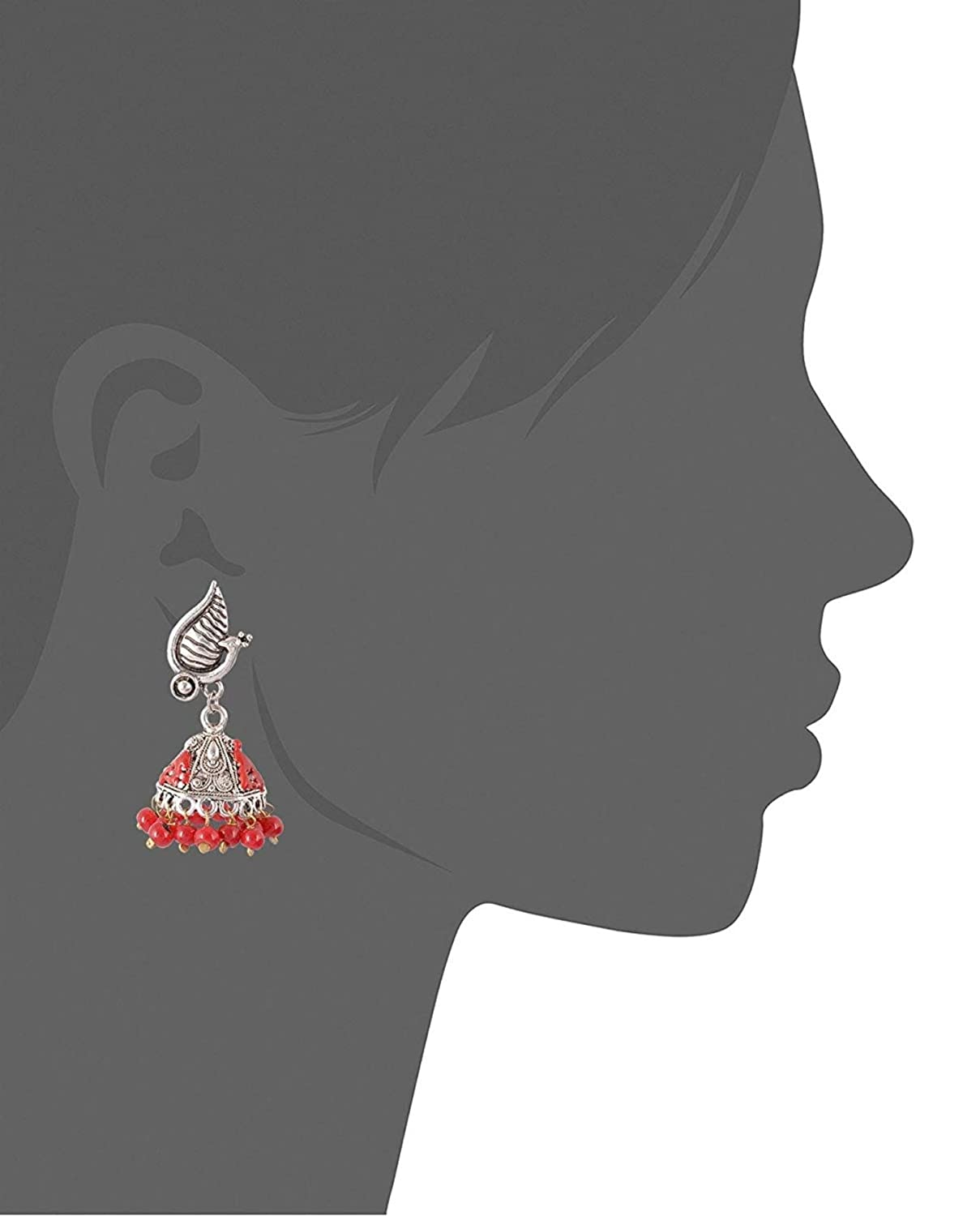 Subharpit Red Pearl Oxidized Silver Metal Non Precious Indian Ethnic Tratitional Tops Jhumki