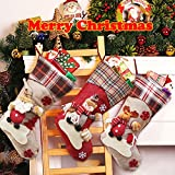 Dreampark Christmas Stockings, Big Size 3 Pcs 18'' Classic Christmas Stocking Santa Snowman Reindeer Xmas Character for Party Decoration (style 2)