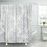 Blue Toile Shower Curtain TOMPOP Shower Curtain Blue French Taupe and Navy Toile Beige Antiqued Filigree Waterproof Polyester Fabric 72 x 78 Inches Set with Hooks