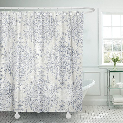 TOMPOP Shower Curtain Blue French Taupe and Navy Toile Beige Antiqued Filigree Waterproof Polyester Fabric 72 x 78 Inches Set with Hooks