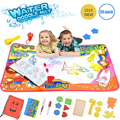 Outwit Water Drawing Mat Aqua Magic Doodle Mat Mess-Free Toddler Toys Large Painting Board Educational Writing Mats in 6 Colors with Travel Bag for Boys Girls Best Toy for Kids Size 34.5 X 22.5
