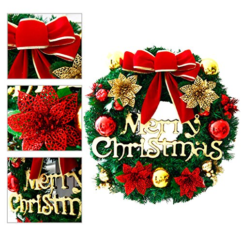 Large Christmas Wreath for Front Door Wall Windows Artificial Poinsettia Xmas Decoration,Red Bowknot 11.8 Inch Christmas Wreaths