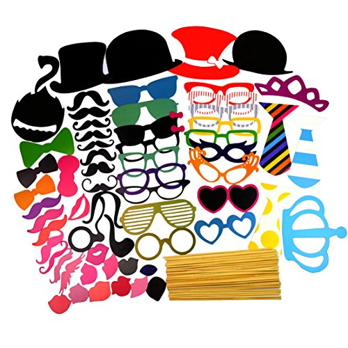 [60pcs Wedding Party Supplies, Jmkcoz Party Props DIY Party Photo Booth Props Mustache Party Favors Costumes] (Princess Halloween Costumes Diy)