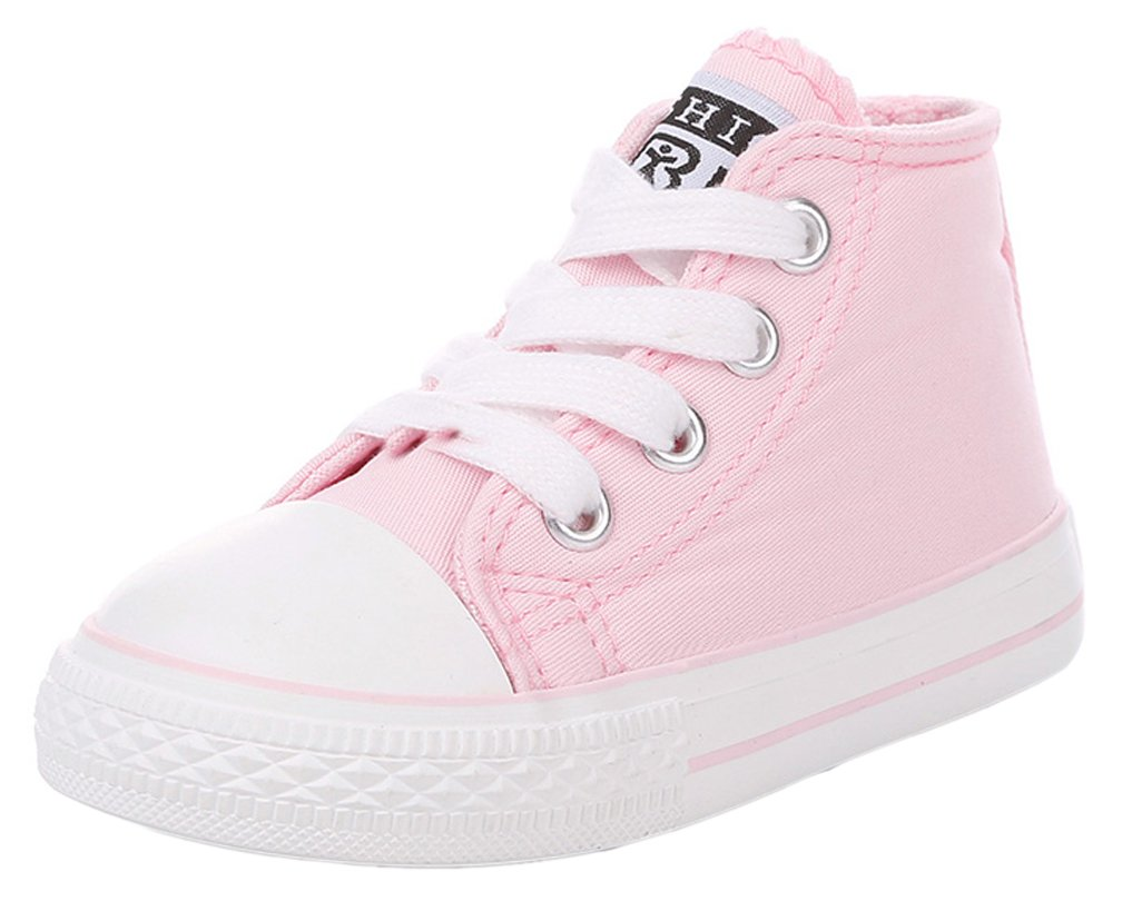 iDuoDuo Boys Girls Toddlers Classic High Top Lace up Canvas Shoes with Side Zipper Pink 5 M US Toddler