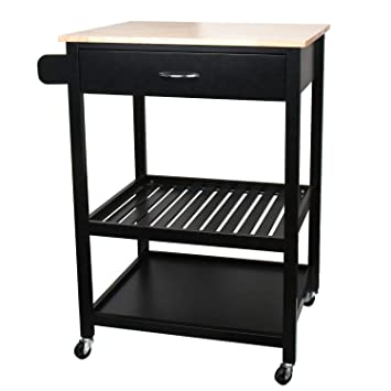 JW Home Multi-Purpose Cabinet Rolling Kitchen Island Table Cart with Wheels  - Black