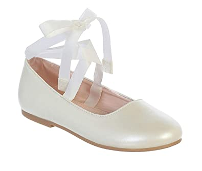 dff5e2cc6cc Little Girls Ivory Ribbon Ankle Tie Matte Mary Jane Ballerina Flats Shoes  Size 9 Toddler