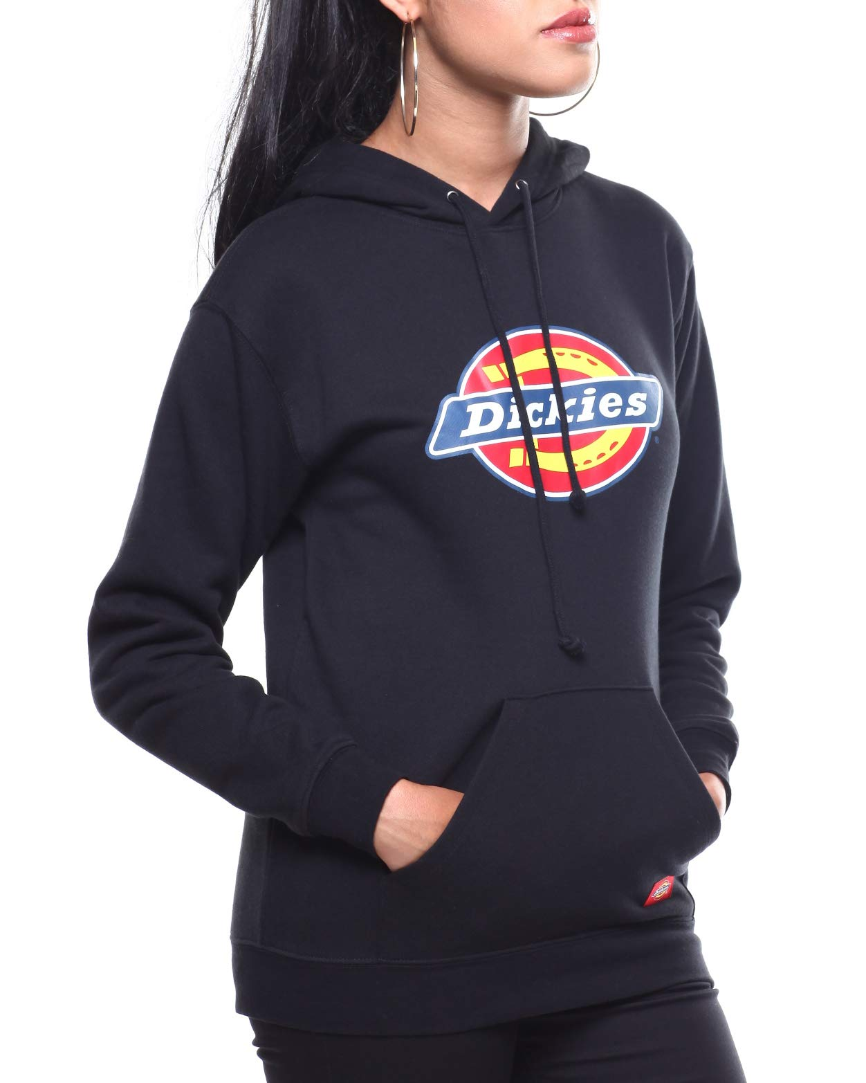 Dickies Girl's Icon Logo Fitted Hoodie (Black, Medium)