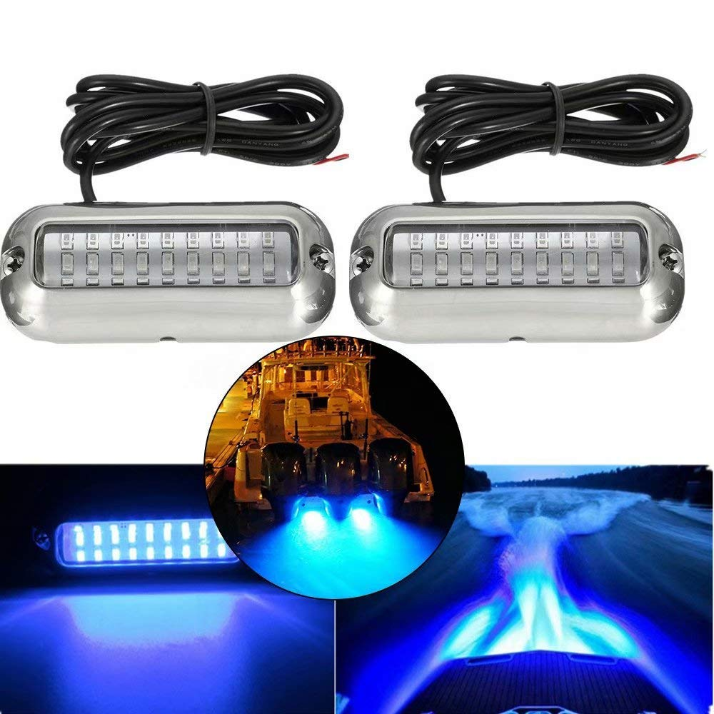 G·PEH Stainless Steel 27 LEDs Blue Underwater Pontoon Marine Boat Transom Lights, Pack of 2 by G·PEH