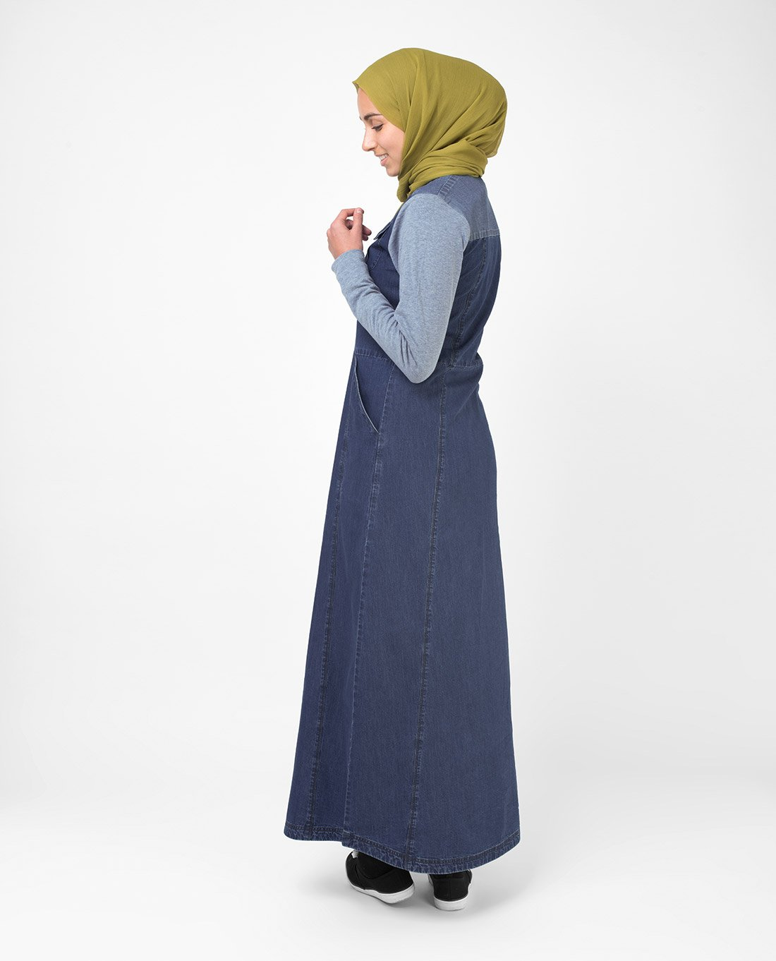 Silk Route Grey Contrast Fine Denim Maxi Dress Jilbab Medium 56 by Silk Route (Image #5)