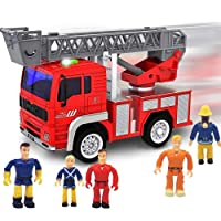 FUNERICA Toy Fire Truck with Lights and Sounds - Extendable Ladder -Powerful Friction...