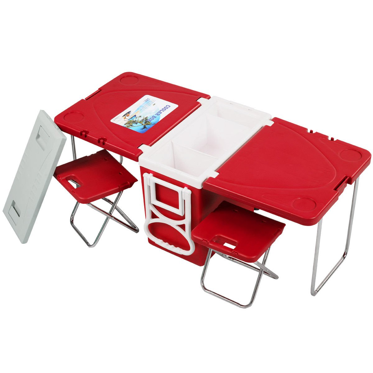 Foldable Rolling Picnic Cooler Multi Function Ultra Compact Table Box With 2 Chairs Red