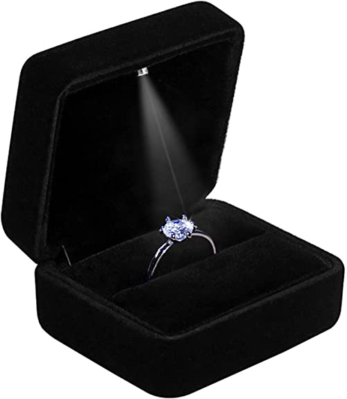 engagement anniversary gif for the loved one wedding Fashionable Lighted black Ring Storage Box Jewelry display case gift for proposal Ring box with LED light