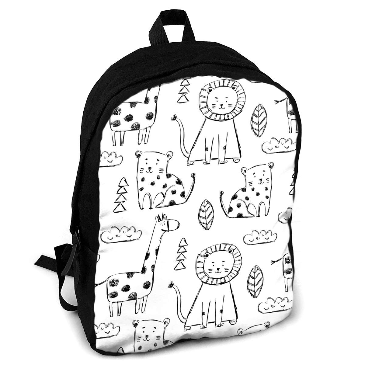 a12d55bc52 Amazon.com  Cute Animals in Black and White Style Unique Outdoor Shoulders Bag  Fabric Backpack Multipurpose Daypacks for Adult  Home   Kitchen