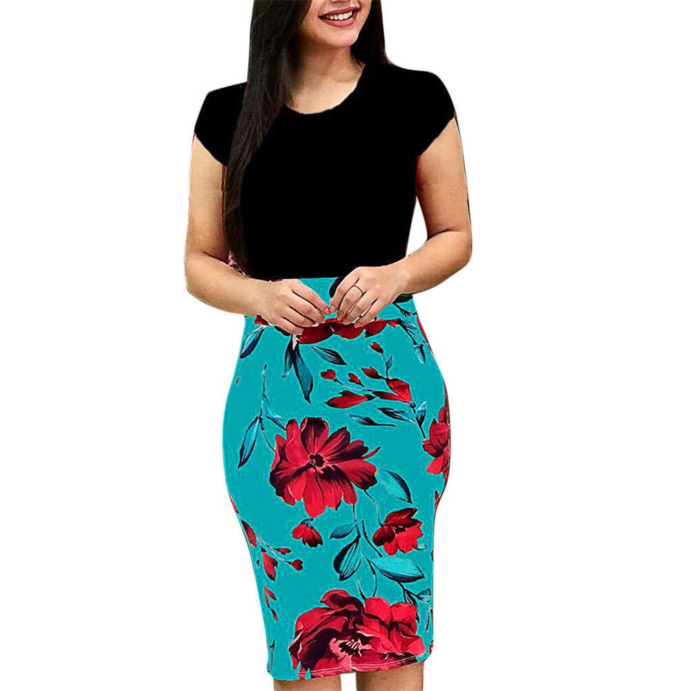 BAOHOKE Bodycon Floral Print Midi Dress for Women,Short Sleeve Casual Party Shirt Dresses(Green,M)