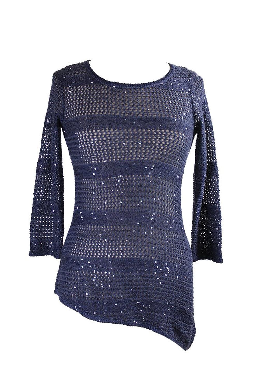 Inc International Concepts Navy Metallic Sequin Asymmetrical Sweater S