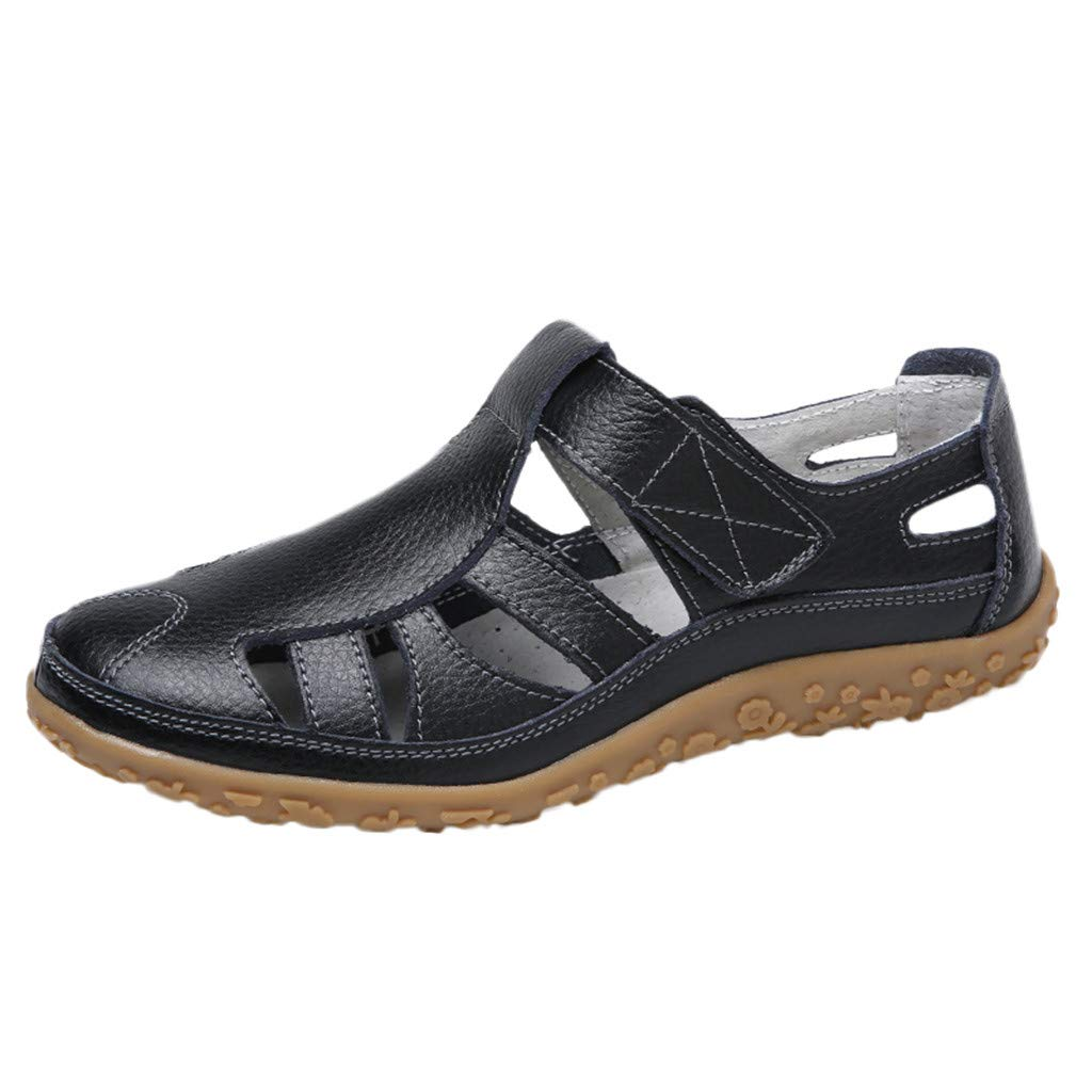 Women's Shoes for Women SYHKS Fashion Lady Retro Solid Color Versatile Flat Shoes Casual Soft Sandles for Women(Black,41)