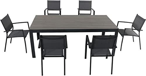 Hanover TUCSDN7PC-GRY Tucson 7 Piece Dining Set