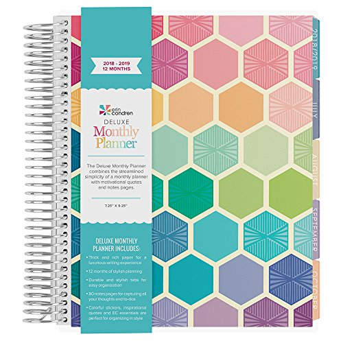 Erin Condren 2018-2019 12 Month Deluxe Monthly Day Planner (7x9 Book) - Hexagons Multi - Colorful (40 Additional Note Pages) (Sept - (Seven Day Planning Spread)