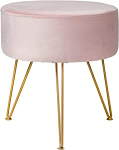 IBUYKE Ottoman Chair Stool Upholstered Footrest Stool Velvet Dressing Table Seat Pouf Couch Stool Golden Steel Legs (DiaxH) 39X45.5cm LG-007