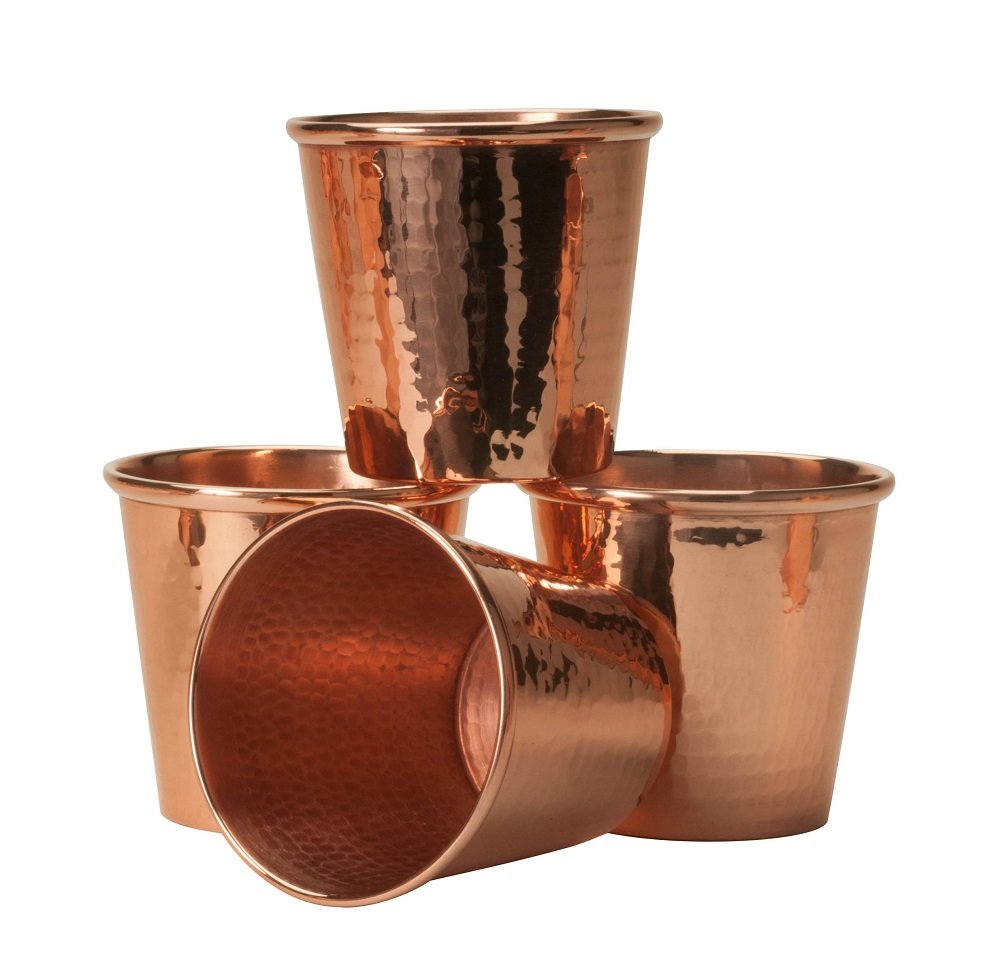 Sertodo Copper CC-12-4 Apa Cup, Hand Hammered 100% Pure Copper, 12 oz, Set of 4