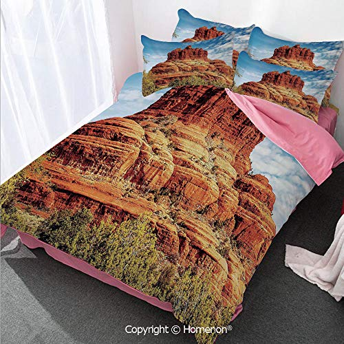 - Homenon Western Girl's Room Cover Set Queen Size,Famous Bell Rock and Courthouse Butte in Sedona Arizona USA,Decorative 3 Piece Bedding Set with 2 Pillow Shams Cinnamon Blue Green