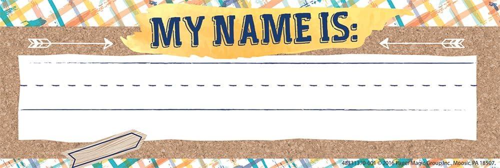 Eureka Confetti Splash Teacher Supplies Self-Adhesive Name Plates, 36 pcs, 9.5'' x 3.25''