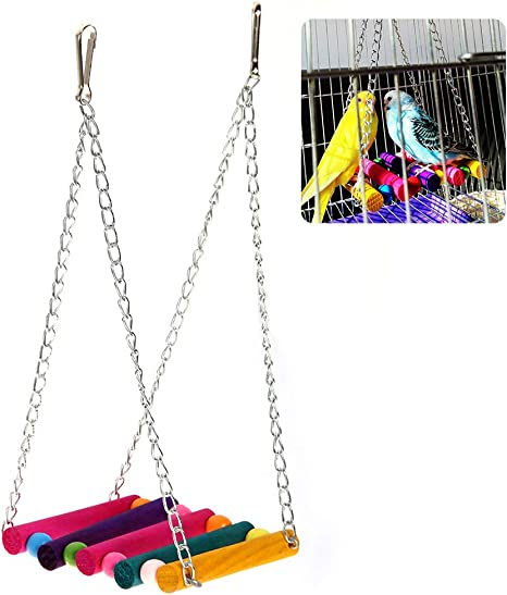 Kylewo Juguete de pájaros pequeños Escalera de Madera Escalada Loro Perico Periquito Cacatúa Jaula Hamaca Columpio Juguete Colgante