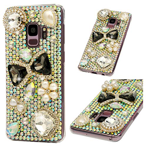 Galaxy S9 Case, S9 Case, Diamond Series Full Body Ultra-Thin Plastic Cover Bling Colorful Rhinestone Crystal Shockproof Protective Case for Samsung Galaxy S9 ZSTVIVA - Black Gemstone Bow