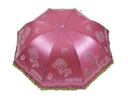 Rojo Seta protección solar paraguas plegable con protección UV sombrilla de encaje para mujer