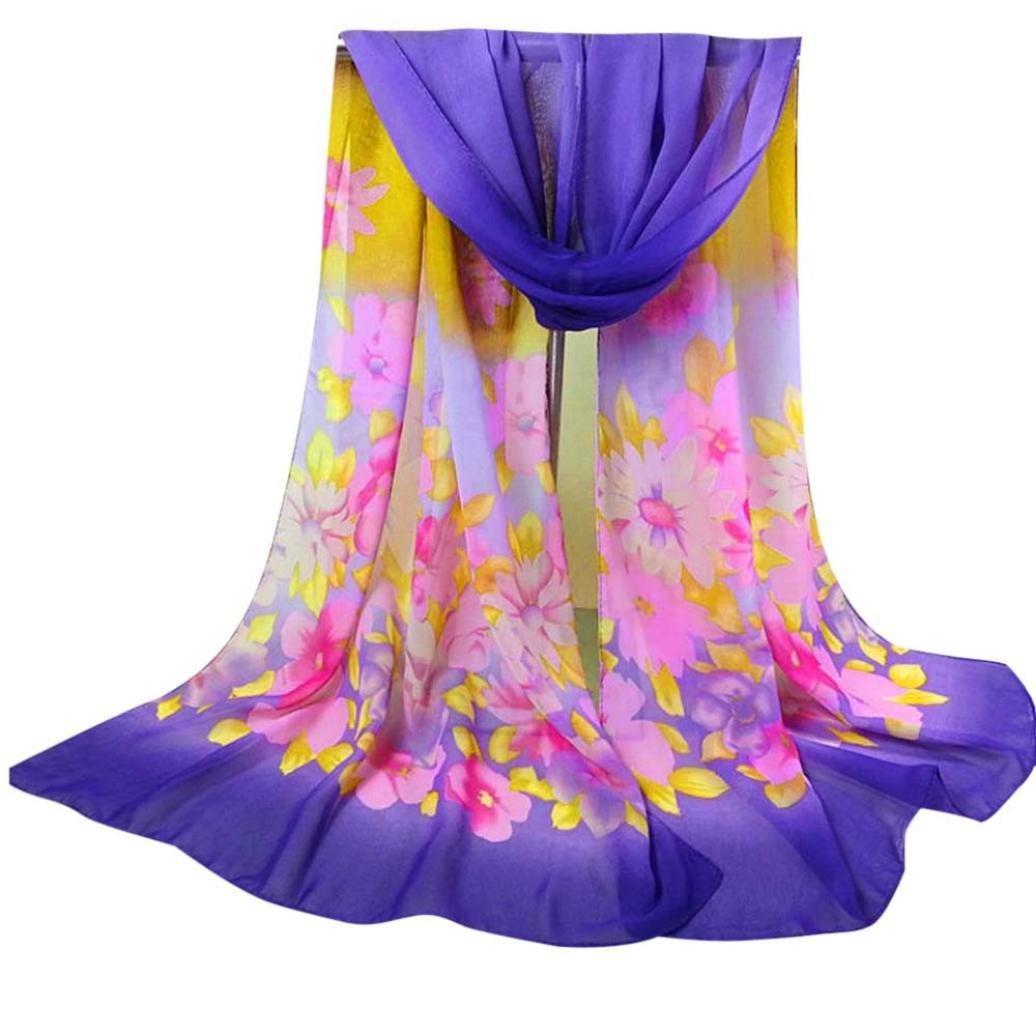 Bestpriceam Women Lady Chiffon Butterfly Print Neck Shawl Scarf Scarves Wrap Stole (Purple New)