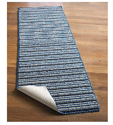 """NEW 20"""" X 60"""" Blue Colored Striped Extra Long Nonslip Floor Runner Rug *Made in Usa*"""
