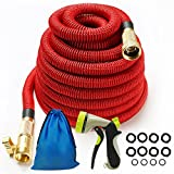 Iserlohn 50 Ft Strongest Expandable Garden Hose with 8 Pattern Spray Nozzle and 12 Pack Washer, Strongest Water Hose with Durable Triple Layer Latex Core, Copper Fitting, Red