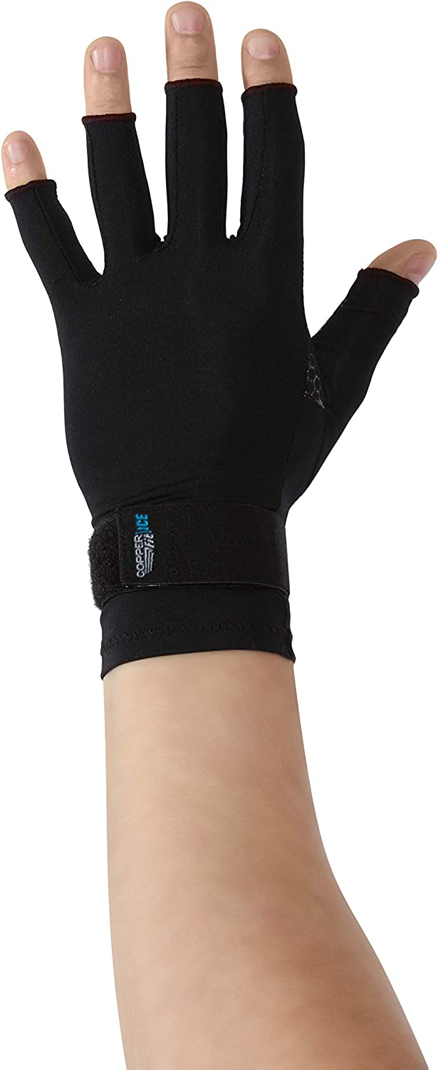 Copper Fit unisex adult Ice Compression Gloves Infused with Menthol and Coq10 for Recovery, Black, Small Medium US: Clothing