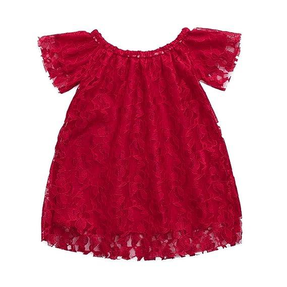 PAOLIAN Ropa para Vestidos para bebe Niñas Verano Sin Manga Diseño de Encaje Rojo fiestas Vestidos