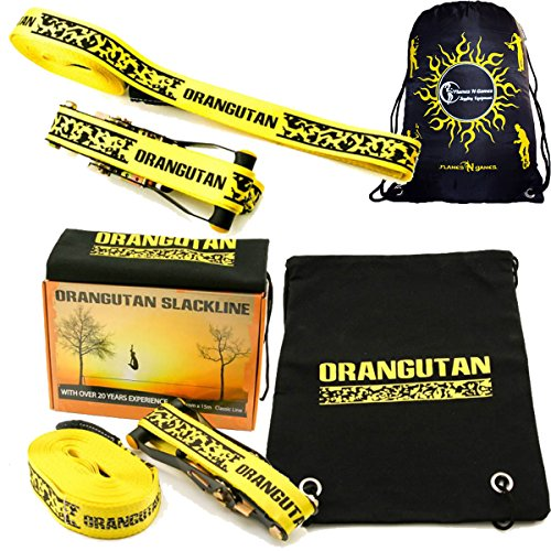 Orangutan SLACKLINE 15m Set - Great Value Including Ratchet + Straps + Bag! Perfect Balance Slack Line For All Ages And Skill (Neon Yellow)
