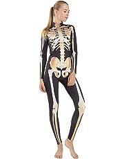 Quesera Women's Halloween Costume Skeleton Zip Up Skinny Catsuit Stretch Jumpsuit