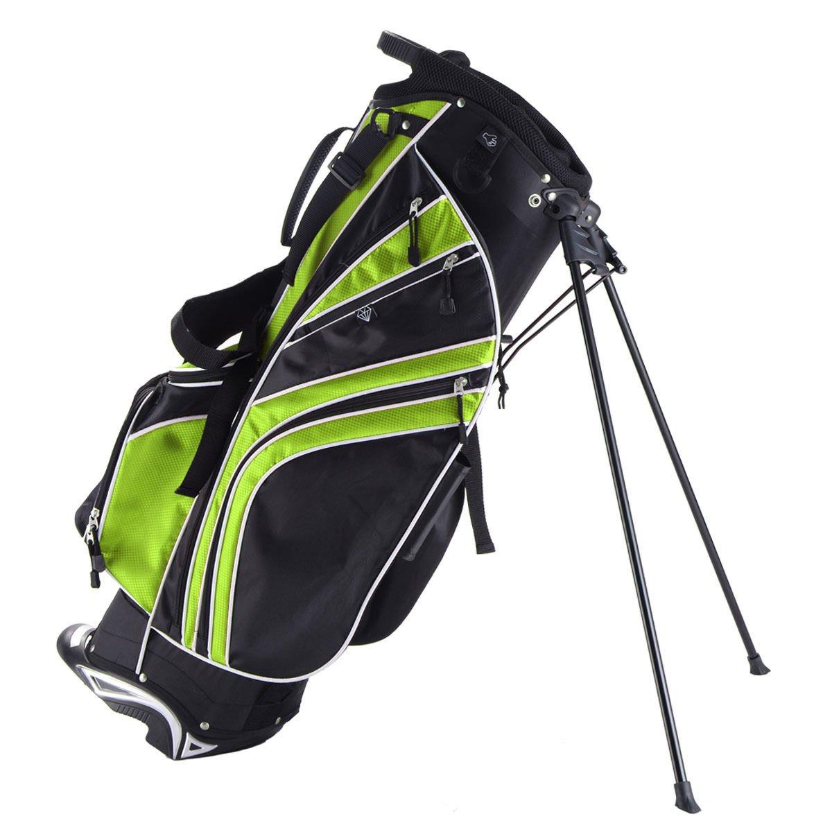 Tangkula Golf Stand Bag w/6 Way Divider Carry Organizer Pockets Storage Sunday Golf Bag(Green)
