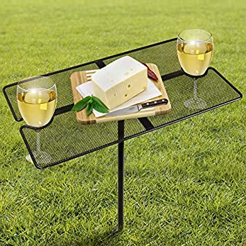 Sorbus Picnic Wine Table Stake, Portable Foldable Picnic Table, Great Drink Holder Stakes for Park, Backyard, Beach Tables for Sand