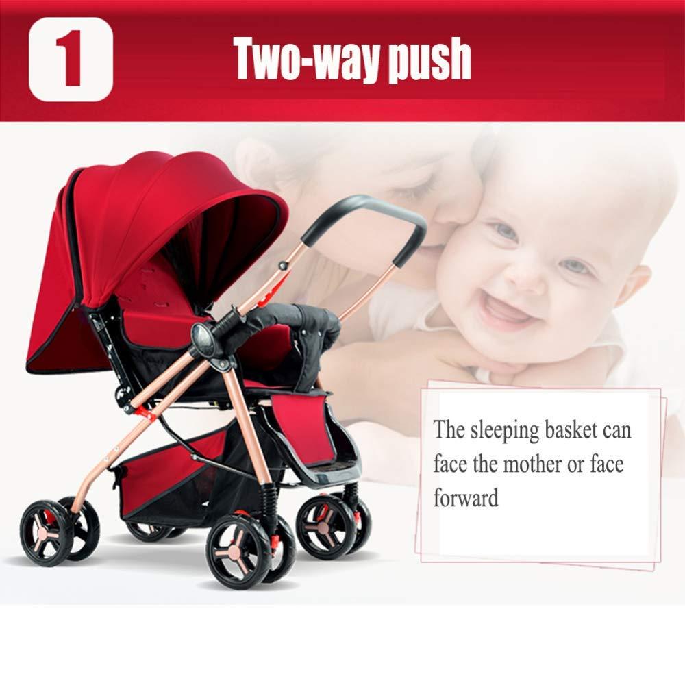 MAOSF Kinderwagen Kinderwagen Kinderwagen Buggys Zwei-Wege kann sitzen und legen Leichtgewicht Taschenschirm für 0-3 Jahre alt, 69x54x100cm (Farbe : Rosa) Rot
