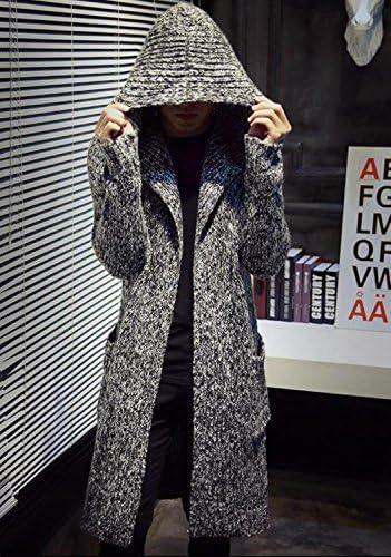 メンズ ニット カーディガン セーター フード付き ロング 丈 長袖 363