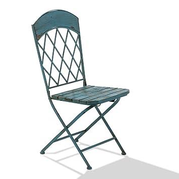Klappstuhl holz antik  Amazon.de: miaVILLA Stuhl-Set 2-teilig - Vintage Blau - Garten ...