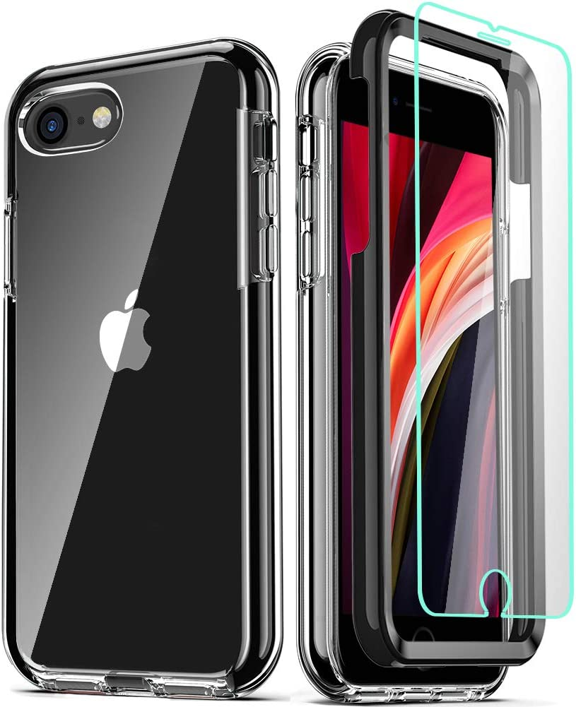 COOLQO Compatible for iPhone SE 2020 Case 4.7 Inch, with [2 x Tempered Glass Screen Protector] Clear 360 Full Body Coverage Hard PC+Soft Silicone TPU 3in1 Protective Shockproof Phone Cover_Black
