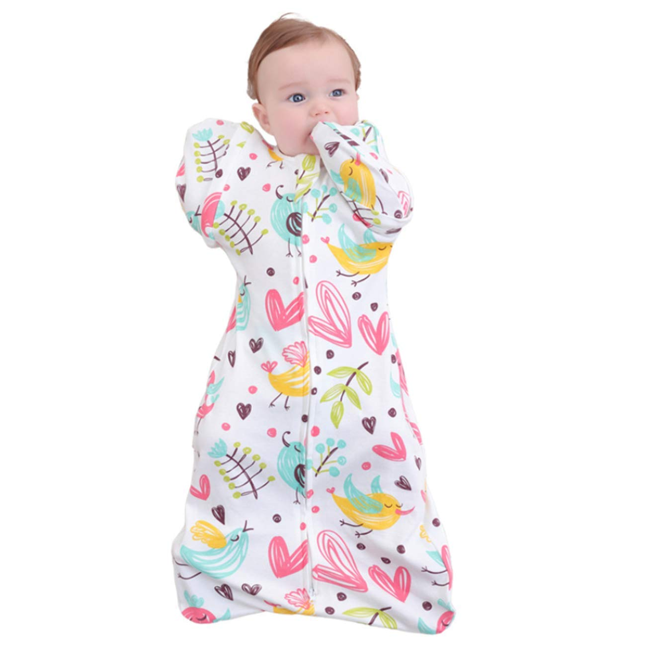 XIUHAO Newborn Sleeping Bag, Baby Quilt, Detachable Sleeves Double Zippered Cotton, for Little Babies by XIUHAO