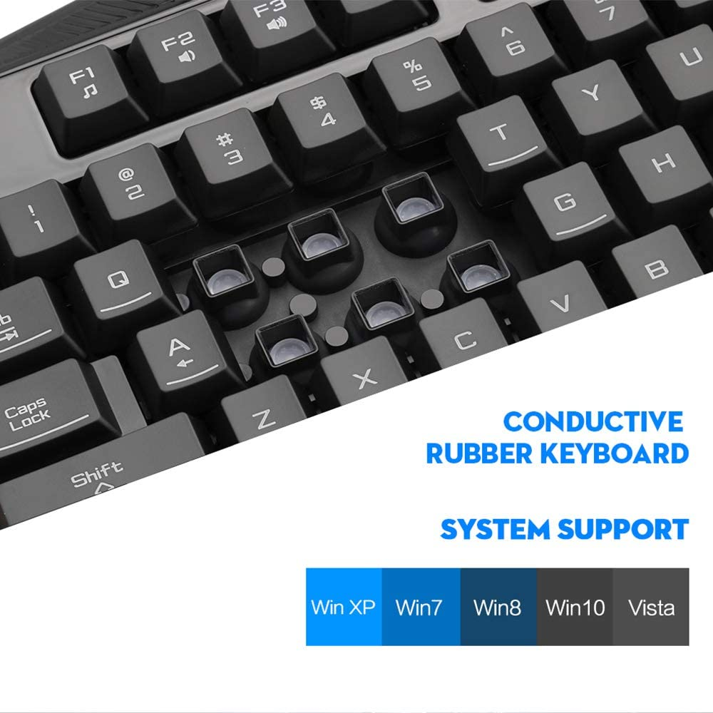 Ergonomic Full Key Anti-Ghost Suitable for Games//Office//Entertainment LINGYUN Colorful Cool Backlit Mechanical Keyboard with Wrist Pad Game Keyboard