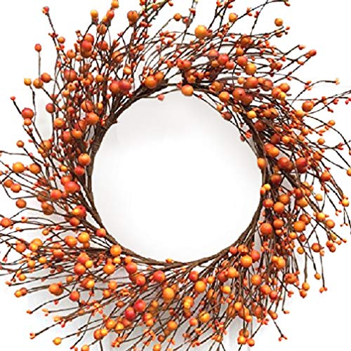 - Mixed Orange Berry Wreath for Autumn 22 Inches Handmade with Artificial Berries Fall Decor Thanksgiving Front Door Decoration